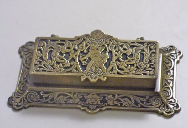 ° CARPE DIEM Antique Brass Bronze Stamp BOX Freemasonry Angel Postal Signs 1875