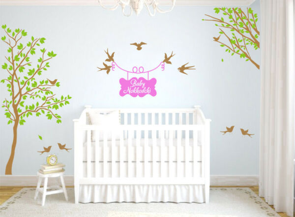 Large Nursery Tree Decal With Personalised Name Wall Decoration Vinyl Stickers