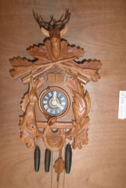 Cuckoo Clock German Black Forest Hunter SEE VIDEO musical 1 Day CK2166