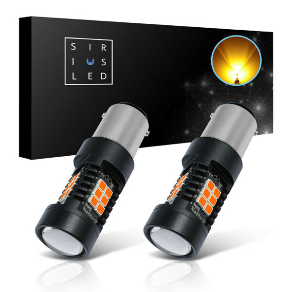 SiriusLED 2pc 2357 7506 LED Turn Signal Light Bulb 2835 SMD Chipset 3000K Yellow