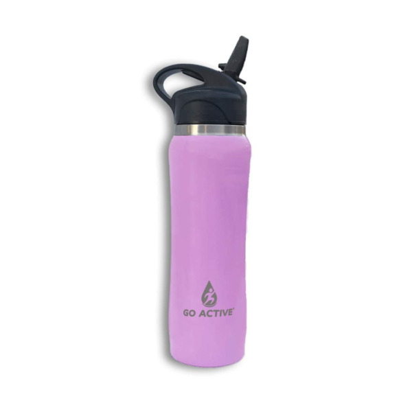 GO Active Stainless Steel Insulated Water Bottle with Flip Straw and Sweat-Proof