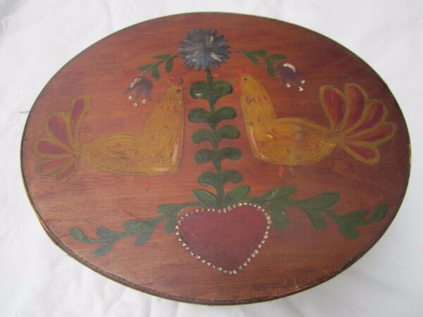 Frye's pantry boxhand painted with Rooster & flowers. SignedPatinafolk art.