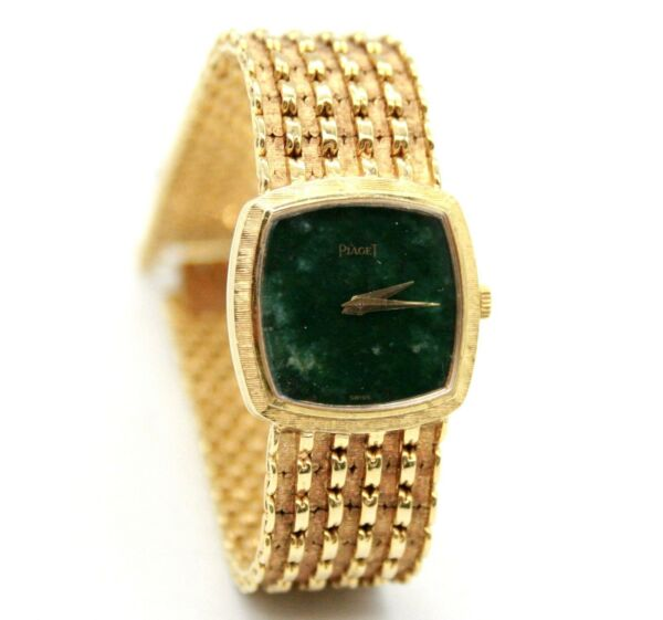 VINTAGE PIAGET 18K YELLOW GOLD QUARTZ 23MM GREEN JADE DIAL WRIST WATCH 7