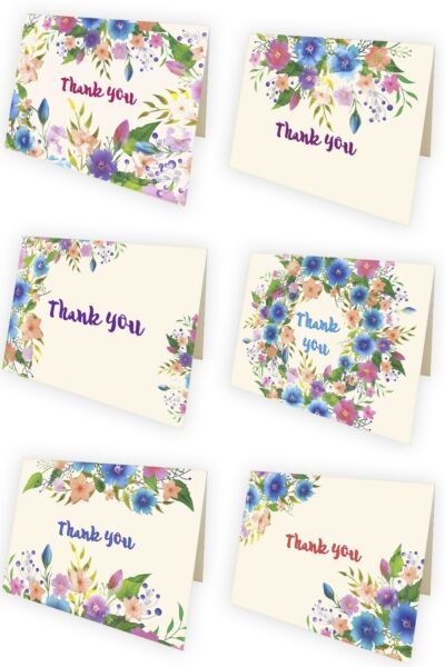 Thank You Cards Bulk 6 Floral Vintage Watercolor Designs 50 Envelopes PETANI