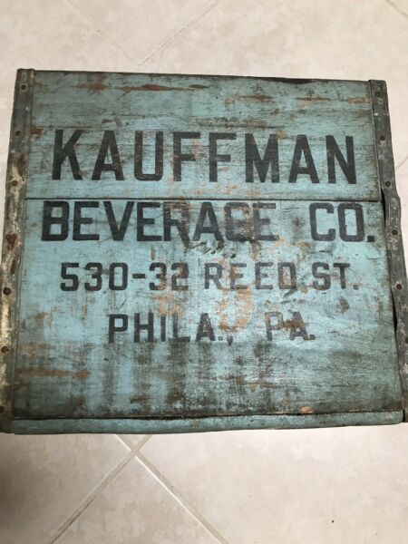 Rare & Vintage Seltzer Soda Bottle Wood Carrying Crate KAUFFMAN BEVERAGE CO