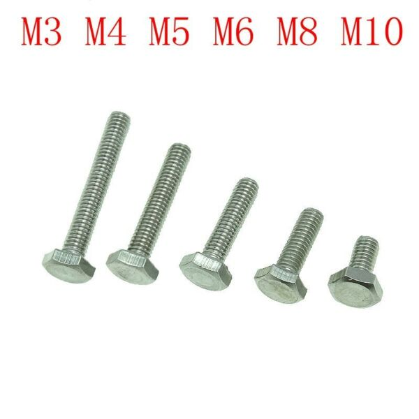 10 pcs Stainless Steel 304 Screws Hex Bolt DIN933 Full Thread M3M4M5M6M8M10