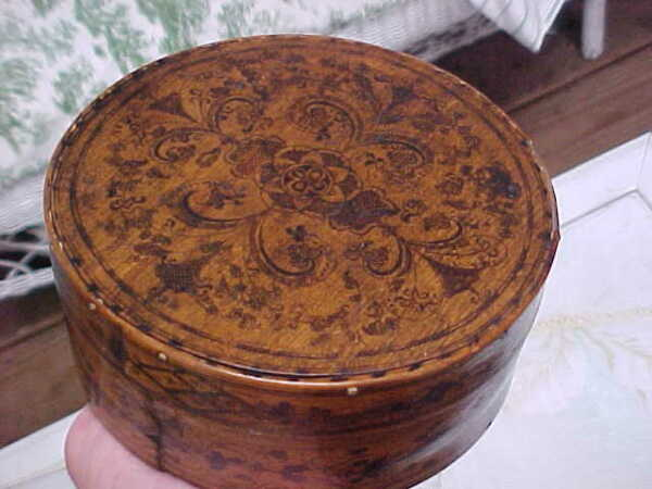 Vintage Old Antique Rare Wood Folk Art Hand Drawn Painted Pantry Bride's Box