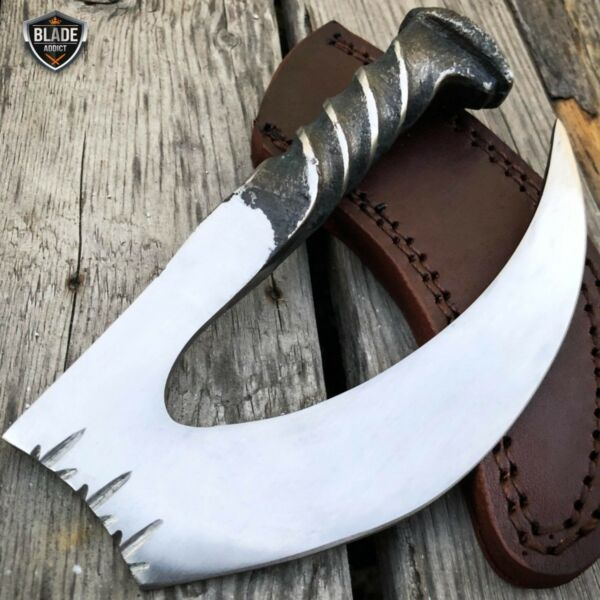 Hand Forged Railroad Spike Carbon Hunting Gut Hook Claw Knife Fixed Blade Case $22.95