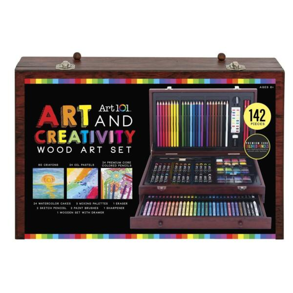 142 Piece Art Drawing Set Artist Sketch Kit Paint Pencil Pastel Wood Case Box