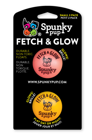 SMALL FETCH & GLOW 2pk - Glow in the Dark Floats Small Dog Non-Toxic Balls Toys