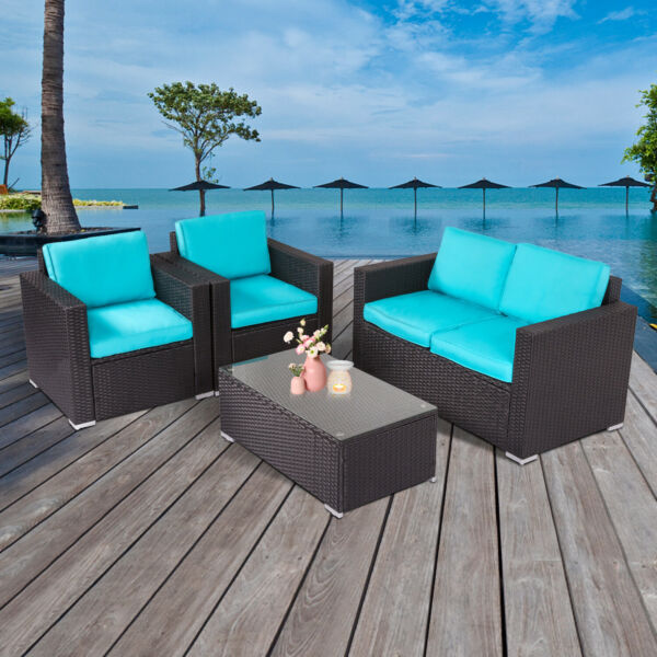 4 PCs Rattan Patio Outdoor Furniture Set Garden Lawn Sofa Sectional Set Blue $389.99