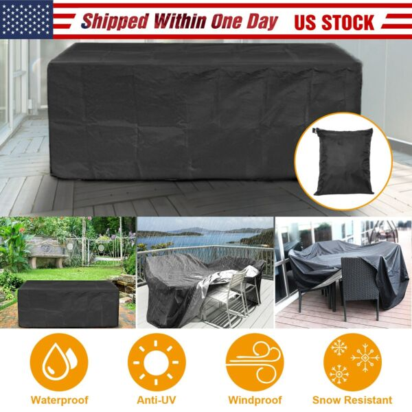 Waterproof Outdoor Patio Furniture Cover Rectangular Garden Rattan Table Cover $24.99