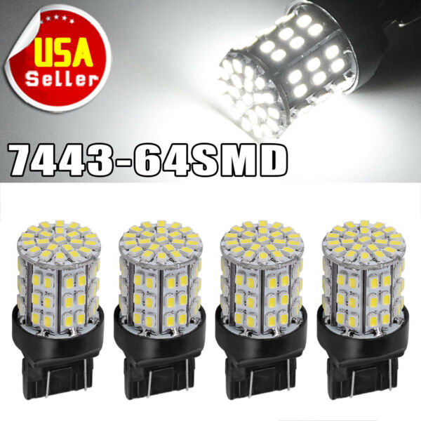4x White 7443 7440 64-SMD 1206 Chip Backup Reverse/Parking LED Light Bulbs T20