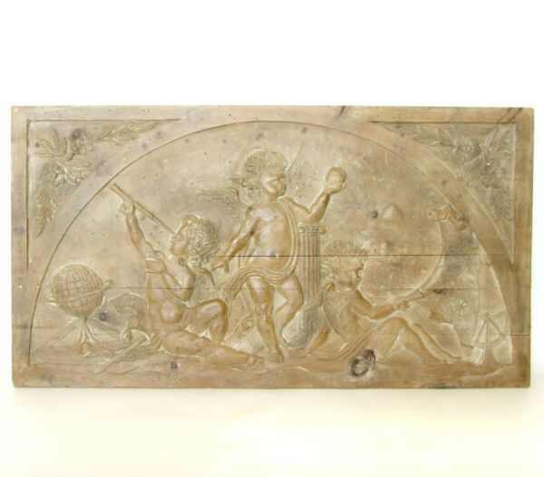 Vtg Palladio Italian Handcarved Wood Panel Astronomy Nautical Theme Angels Putti