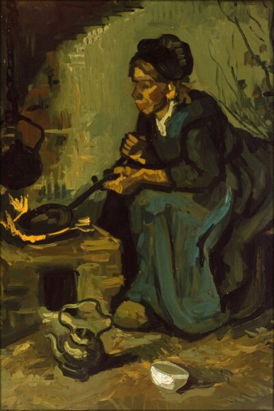 Poster Many Sizes; Peasant Woman Cooking By A Fireplace By Vincent Van Gogh
