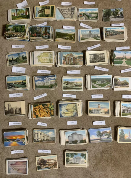 Lot of 50 Antique & Vintage Postcards1900s-1970s. All USA. Used And Unused !!
