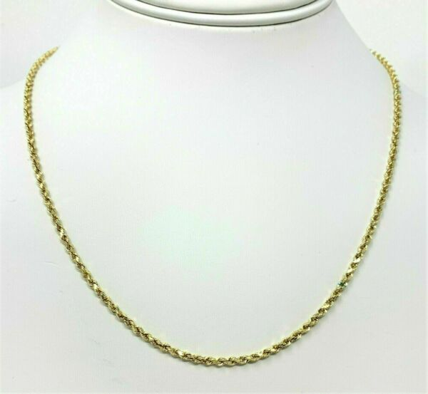 14K Solid Yellow Gold Necklace Rope Chain 16'' 18