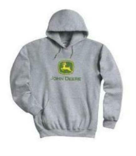 John Deere Licensed Gray Hooded Sweatshirt Drawstring Hoodie