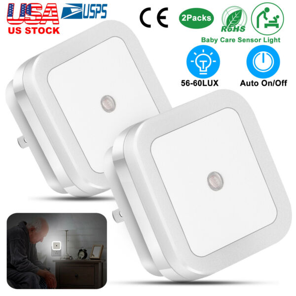 2pcs 0.5W Plug-in Auto Sensor Control LED Night Light Lamp for Indoor Bedroom US
