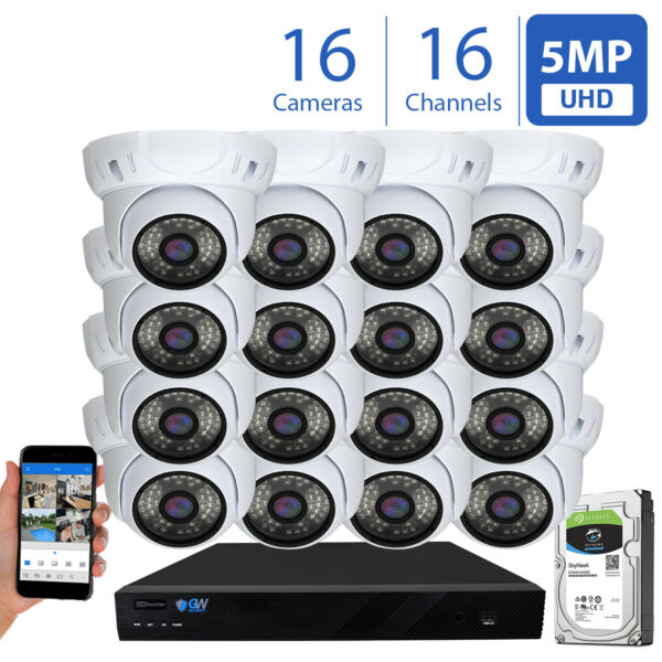 16 Channel 4K NVR (16) 5MP Waterproof IP Security PoE Camera System 130FT 2TB