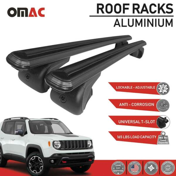 Fits Jeep Renegade 2015 2021 Roof Rack Cross Bars Luggage Carrier 2 Pieces Black $99.90