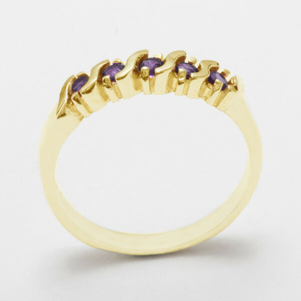 Solid 18ct 750 Yellow Gold Natural Amethyst Womens Eternity Ring - Sizes J to Z