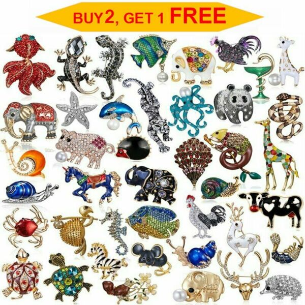 Rhinestone Crystal Animal Frog Turtle Elephant Cat Dog Brooch Pin Women Lot Gift