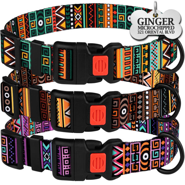 Personalized Nylon Adjustable Dog Collar Buckle Collars for Puppy Small Large GBP 8.99