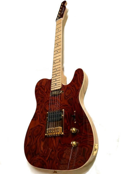 NEW BURL MAPLE TOP 6 STRING TELE STYLE ELECTRIC GUITAR HUMBUCKER GOLD PARTS $159.99