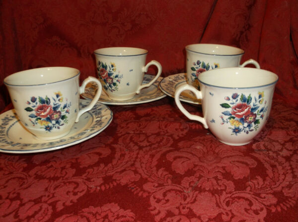 3 TABLE MATES HOMESTEAD FLOWER GARDEN COLLECTION CUPS WITH SAUCERS....NICE