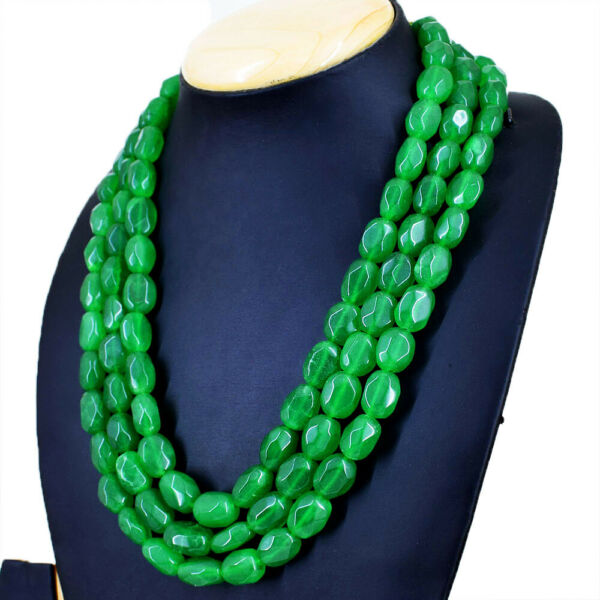 985.00 Cts Earth Mined Faceted Green Emerald Oval Beads 3 Line Necklace NK 37E34