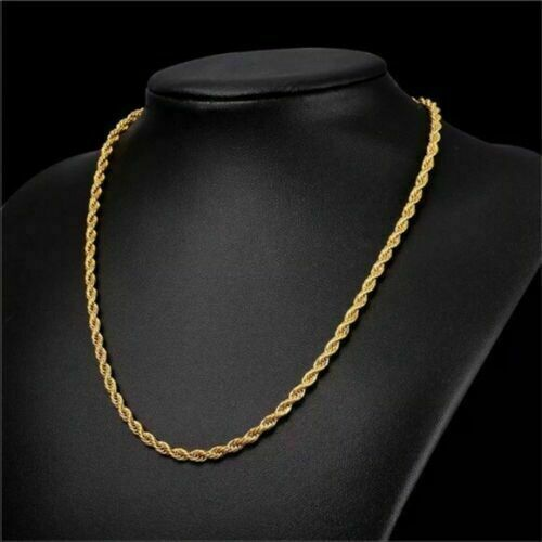 18K Solid Gold Rope Chain Necklace Men Women 16