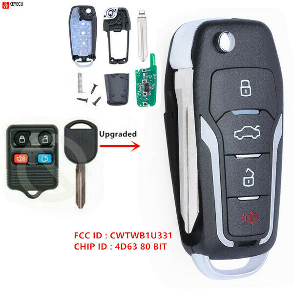 Upgraded Flip Remote Key for 2005-2015 Ford Mustang 4D63 80 BIT Chip CWTWB1U331