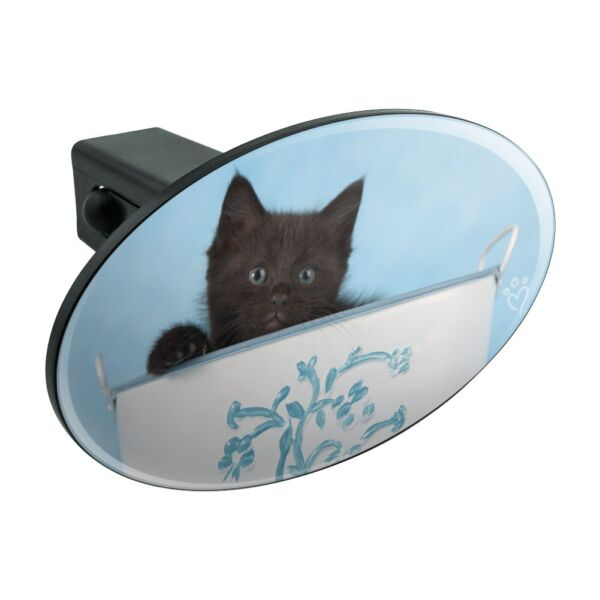 Black Kitten Cat in Bucket Tin Pail Oval Tow Trailer Hitch Cover Plug Insert
