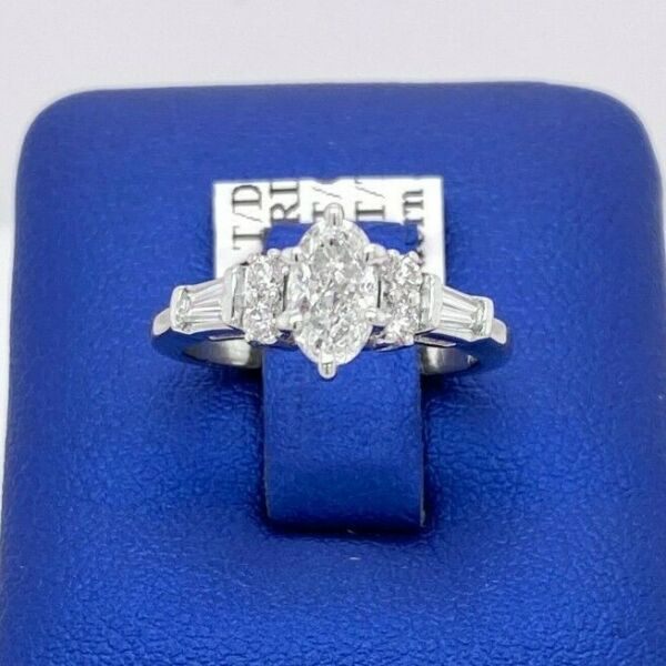 Platinum 1.50 CT Diamond Ladies Engagement Ring Size 4.5 4.7gm  S104996
