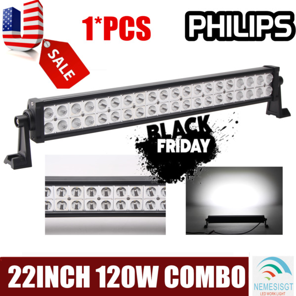 22quot;inch 120W SPOT FLOOD COMBO LED Light Bar Offroad Driving 4WD ATV Boat Truck