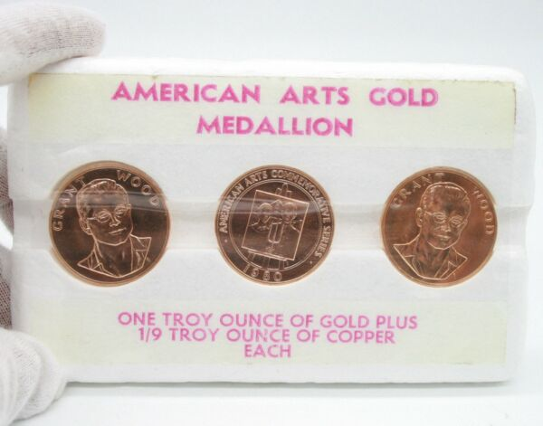 1980 1oz GRANT WOOD AMERICAN ARTS GOLD MEDALLION 3 COIN SET