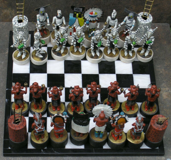 Hand Made Chess Set by Charlie Pratt Native American Two Time Artist of the Year