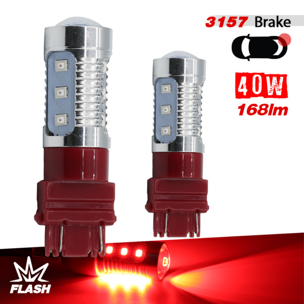2x 31573155 Strobe Flashing Blinking 12LED Red Brake Tail Stop Lamp Light Bulbs