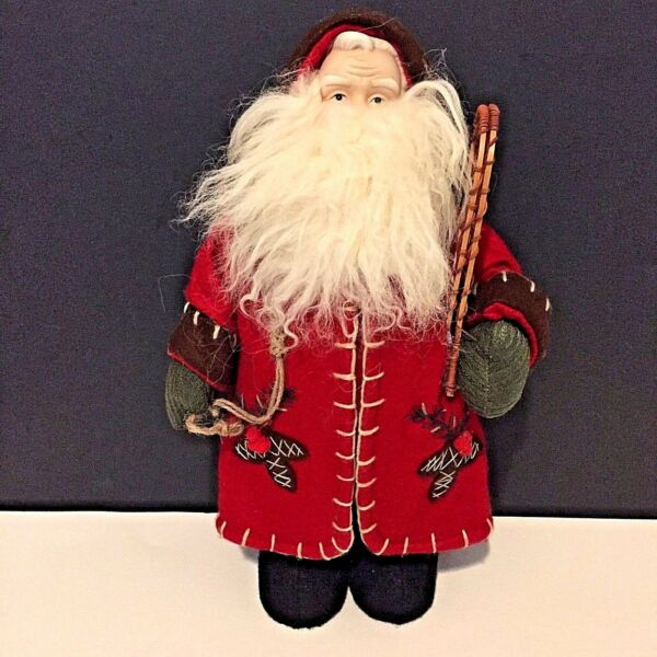 16quot; Woodland Santa With Snowshoes and Burlap Sack Long Red Duster Coat