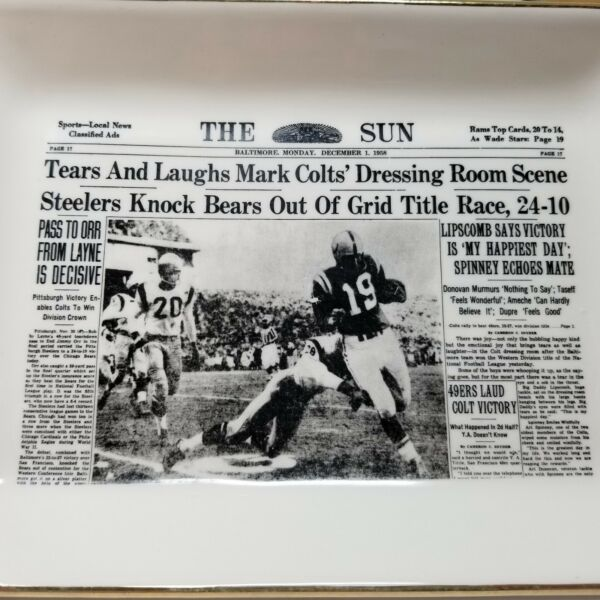 Vintage NFL Collectible Steelers Colts Tray Delano Studios 1958 Baltimore Sun