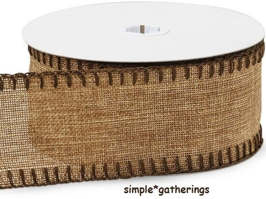 Natural Burlap Ribbon with Chocolate Blanket Stitched Edges 10 Yards by 2 1 2quot;