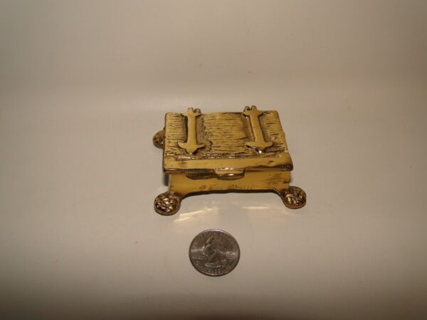 Small Brass Treasure Chest with Paw Footings approx 3 1 4quot; Long