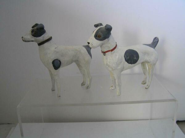 Vintage German Paper Mache Pair of Terrier Dogs Victorian ERA RARE!