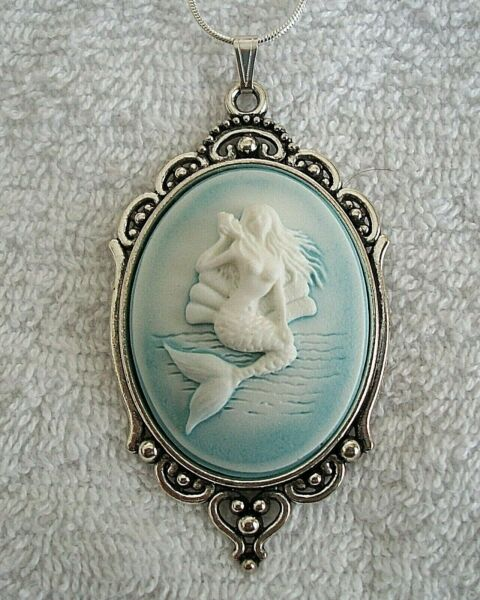 MERMAID Ocean Blue CAMEO Silver PENDANT NECKLACE 925 Silver plated Chain
