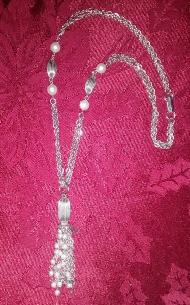 Vintage Double Stand Tassel Necklace Faux Pearl Stations $5.99