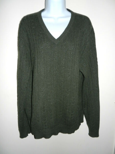 MENS TASSO ELBA 100%CASHMERE DARK GREEN CABLE KNIT V-NECK LONG SLEEVES SWEATER M