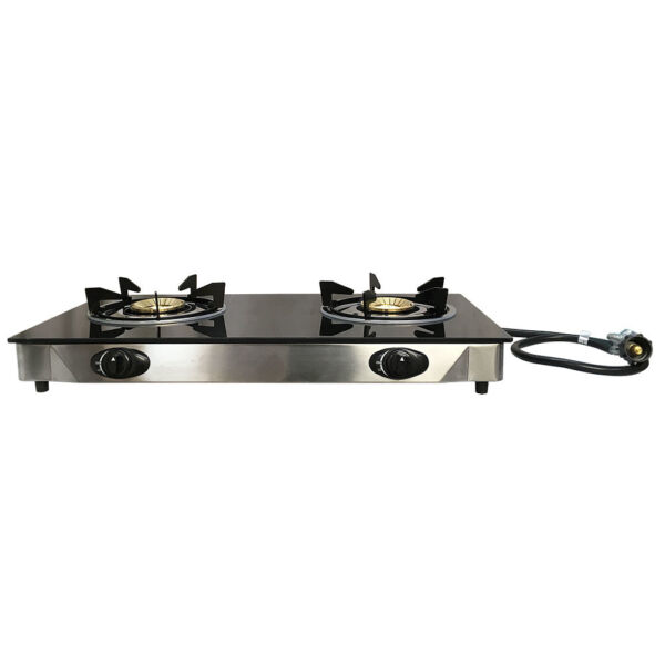 28quot; x 15quot; Propane Double Stove 2 Gas Burner Tempered Glass Cooktop Steel Body