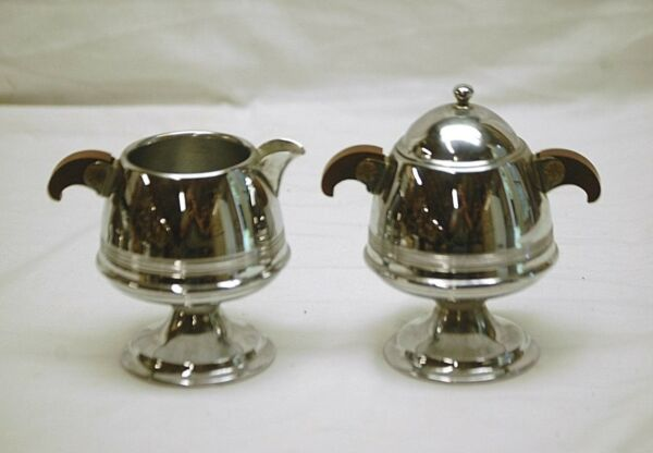 Old Vintage Footed Chrome Creamer & Covered Sugar Bowl w Wooden Handles MCM