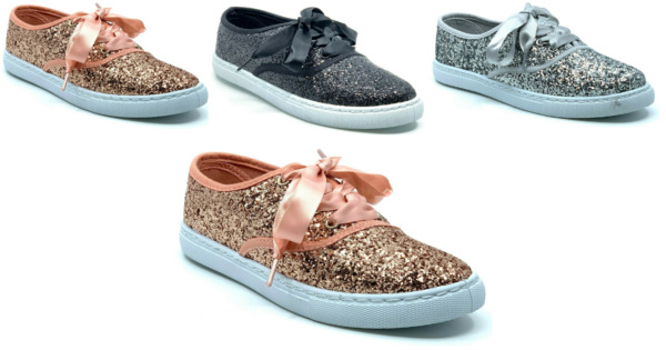 New Womens Sequin Glitter Lace Up Sneaker Fashion Shoes Comfort Ribbon Lace